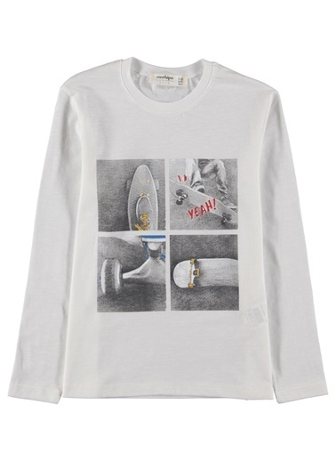 Morhipo Kids Baskılı Uzun Kol T-Shirt Ekru